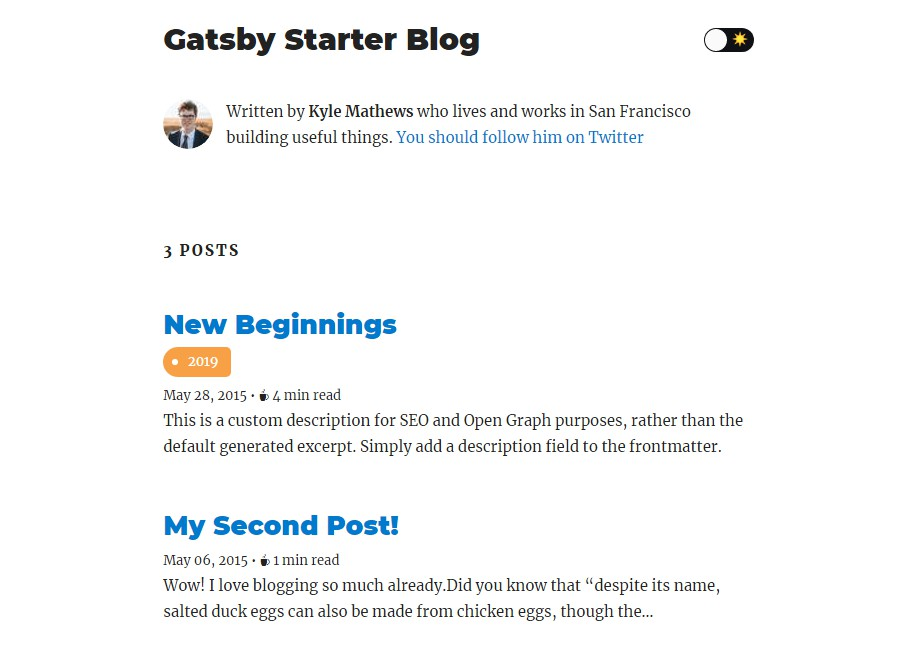 Gatsby-starter-blog with overreacted looking and with tags
