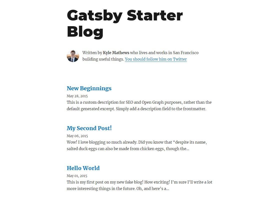 Gatsby starter for creating a blog