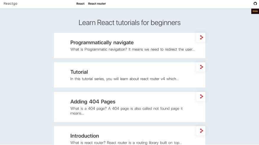A website related to tutorials and articles about the react