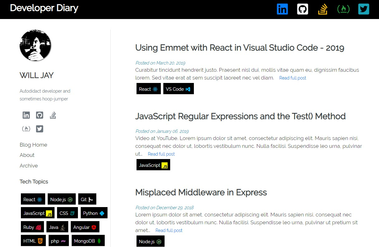 An official Gatsby blog template designed for web developers