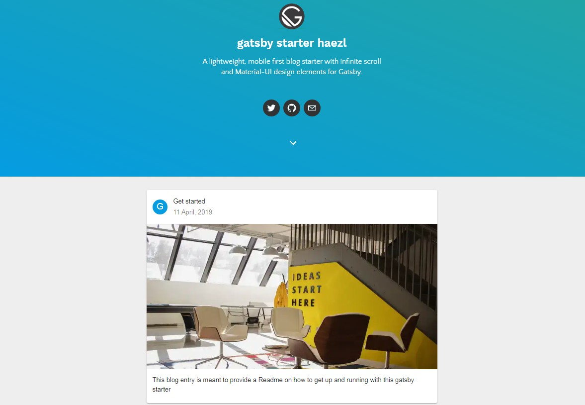 A lightweight blog starter with infinite scroll and Material-UI design for Gatsby