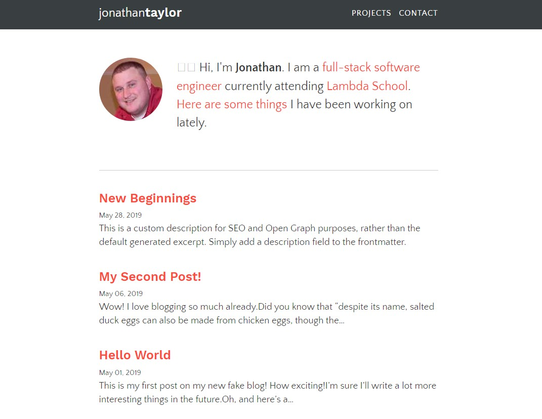 Jonathantaylor blog Built with Gatsby