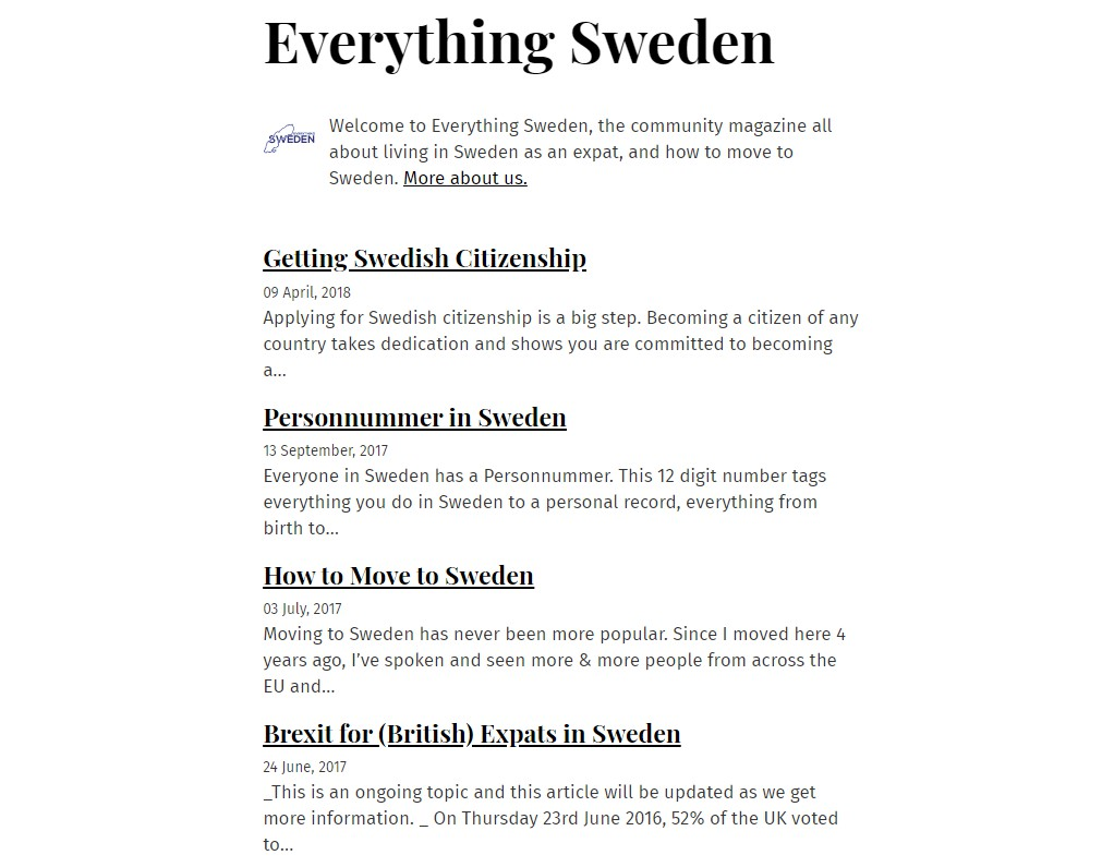 React/Gatsby site for Everything Sweden