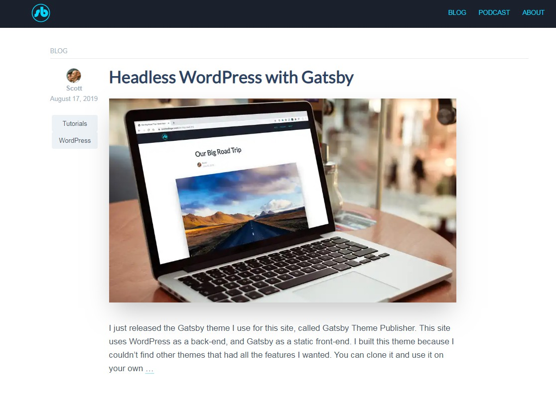 Publisher Theme For Gatsby and WordPress